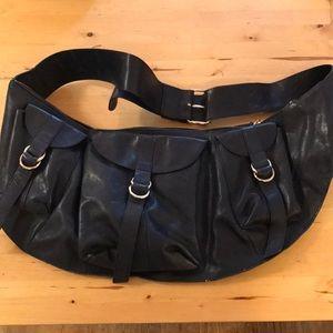 Foley + Corinna large navy leather cross body bag